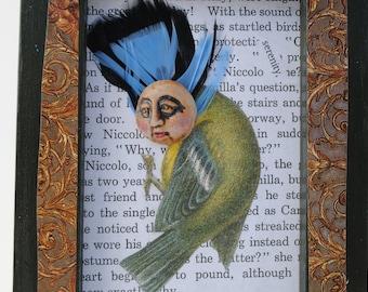 mixed media art assemblage collage anthropomorphic steampunk bird
