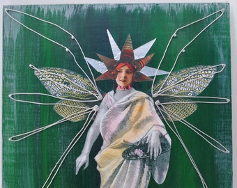mixed media collage original art steampunk winged wired lady wall art