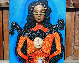 mixed media art assemblage on wood large size wall art mother and child