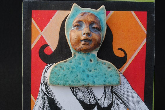 mixed media collage assemblage art block little devil girl