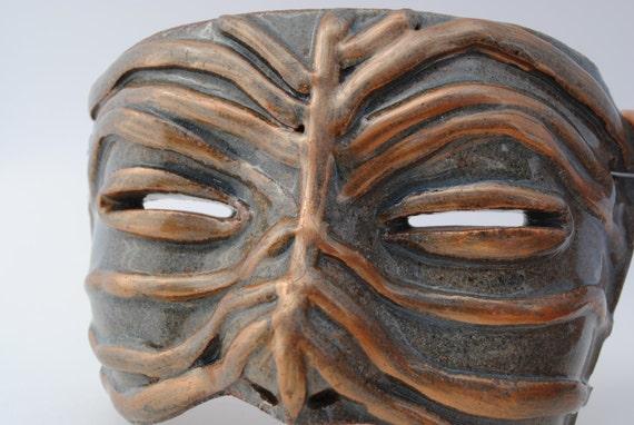 ceramic mask  half face lifesize lined open eye wall art  clay mask art