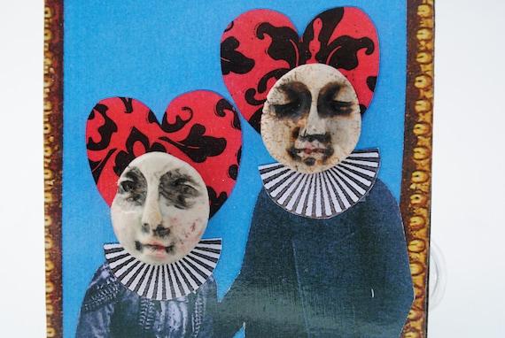 mixed media art collage assemblage miniature art odd steampunk