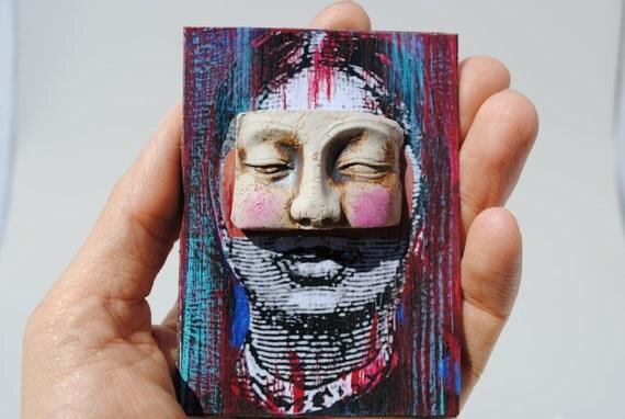 aceo mixed media artist trading card masked woman atc art original