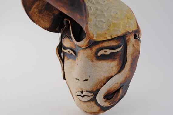 ceramic mask art sculpture wall art wall decor clay art mask