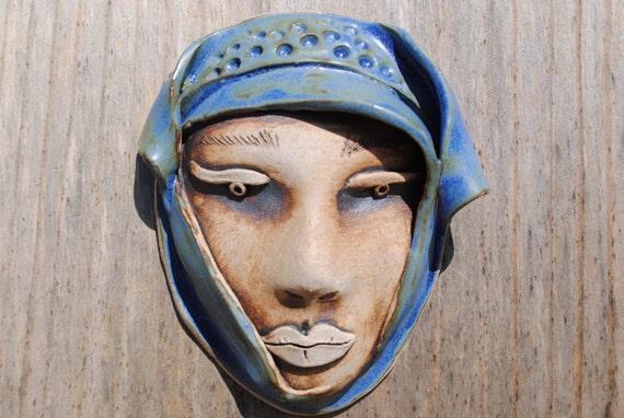 ceramic mask sculpture art clay face garden and home decor wall art mask