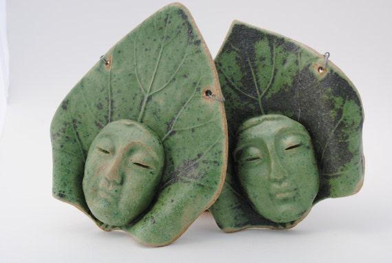 ceramic mask pair of leaf masks garden decor wall art home decor