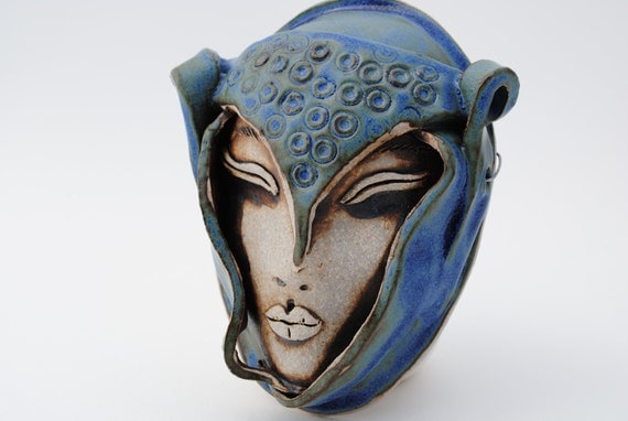 ceramic mask sculpture clay art face garden and home decor wall art mask