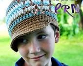 PDF Crochet Pattern - Kiddos Striped Brimmed Beanie
