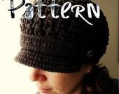 PDF Crochet Pattern - Breezy Brimmed Beanie - hat cap beanie newsboy newsgirl pattern crochet