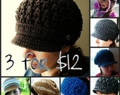 Any 3 Hat Patterns - You Choose