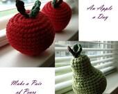 PDF PATTERNS - Twofer - Crochet Amigurumi Apple and Pear