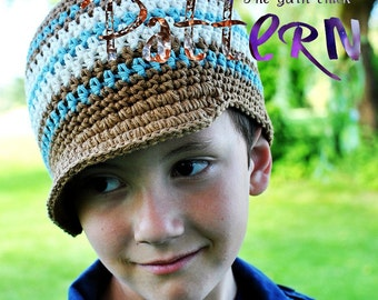 PDF Crochet Pattern - Kiddos Striped Brimmed Beanie