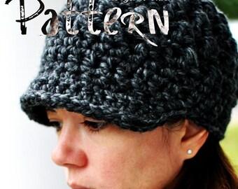 PDF Crochet Pattern - Ladies Thermic Beanie - crochet pattern newsboy newsgirl beanie brim brimmed visor