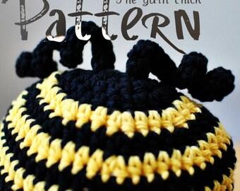 PDF Crochet Pattern - Buzzy Bee Baby Beanie