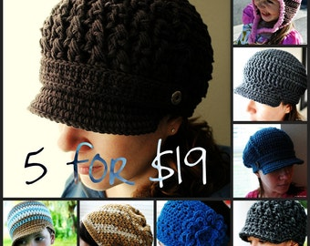 Any 5 Hat Patterns - You Choose