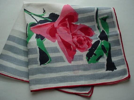 Vintage Hankie Roses & Stripes Classic Sleek