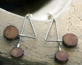 hypoallergenic Surgical steel earrings with Sterling Silver and pine wood from a christmas tree