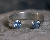 Aquamarine ring and sterling silver - march birthstone - handcrafted sterling silver ring blue aquamarine adjustable ring
