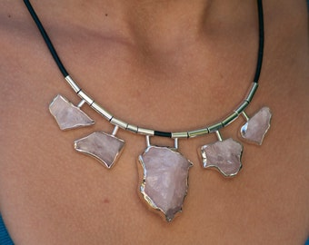 Sterling silver and rose Quartz Necklace, on a black leather cord,  wedding Jewelry