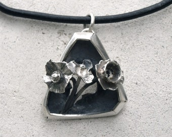 Sterling Silver pendant Black oxidized sterling silver Flower pendant  Black Leather cord silver necklace