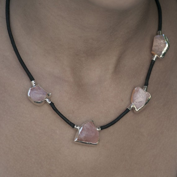 Unique Rose Quartz Sterling Silver necklace with black leather cord and four pink rose quartz crystals