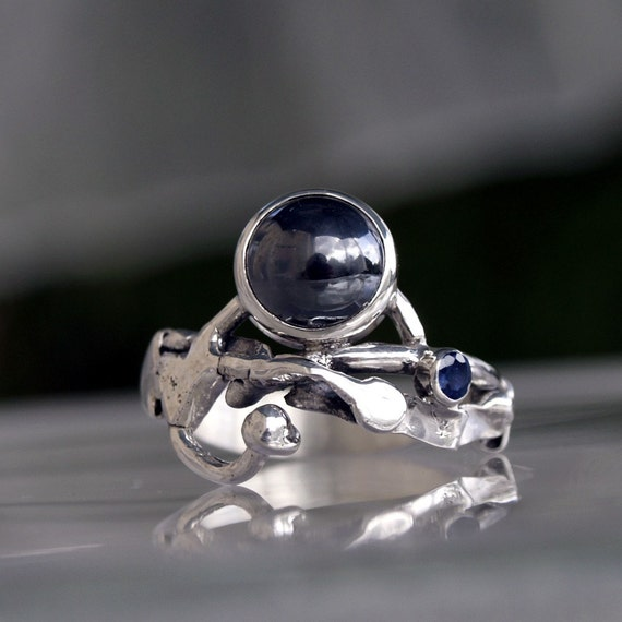 Unique sterling Silver organic ring with big Hematite and a small Blue Sapphire
