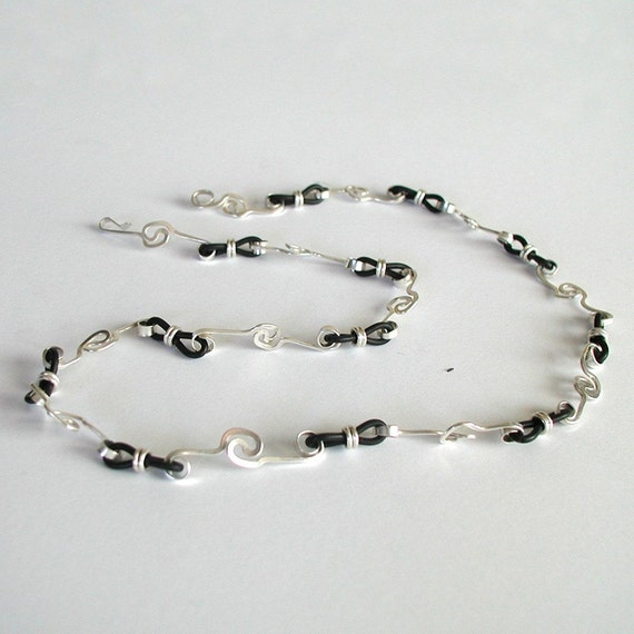 Original Sterling Silver Chain with Black Rubber, unique hand forged silver necklace silver jewelry