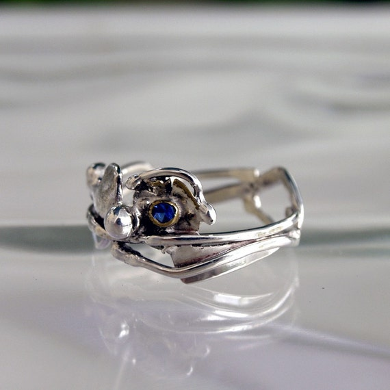Blue Sapphire ring, sterling silver ring, organic ring September Birthstone