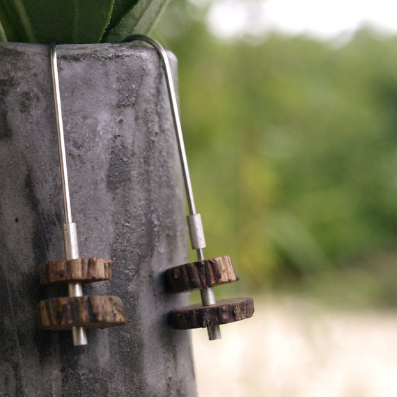surgical steel earrings, Sterling Silver,Christmas  Pine Wood, Handmade in France Long Pine