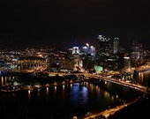 8 by 10 Matted Photo- Pittsburgh Skyline at Night
