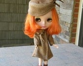 Blythe Coat and Pillbox Hat - Very Retro - Faux Cheetah
