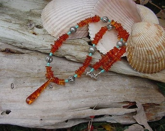 """Genuine Real Amber with Turquoise and Sterling Necklace 19.25""""  (5h496)"""