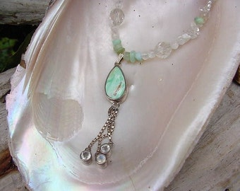 Soft Raindrops Variscite drop Necklace and Earring set