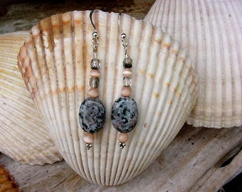 Desert Echo Earthy Oval Bead Lace Jasper and Cat Eye Dangle Earrings 8h94
