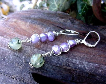 Sugar Plum Frost  Earrings Wire Wrapped Lilac Fresh Water Pearls w Green Quartz (9m236)