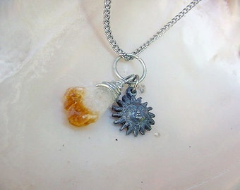 Wire Wrapped Yellow Citrine Crystal Cluster Necklace w/Sun Charm (11L150)