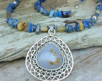 Lapis, Blue Agate, Jade and Sterling Silver Necklace    Misty Morning Blues  9j143