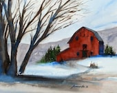 Winter Barn Art Christmas Art PRINT 8 x10 Christmas wall decor barn wall art Winter Landscape Print watercolor red barn painting