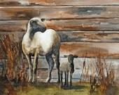 Sheep art PRINT from original sheep painting from Original painting of sheep (Large animal farm painting  11 x 14) gold black blue cream