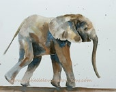 Elephant artwork PRINT (from original watercolor 8 x 10) Baby elephant art in grey gray beige brown blue in a whimiscal soft vintage feel