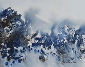 ORIGINAL WATERCOLOR Landscape painting 5 x7 Stormy Mountain II  bogo sale in azure sky white cobalt blue chocolate brown . blizzard artwork