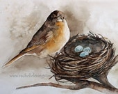 watercolor painting Bird Nest PRINT bird Painting beige wall art Bird Nest Painting 8x10 robin wall art Brown room decor gold robin egg blue