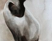 halloween art print Cat PRINT art cat art print cat black 8x10 decor for Halloween art print cat wall art Siamese watercolor cat painting