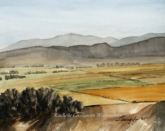 Watercolor Landscape PRINT  8x10 Watercolor Fine Art PRINT (West Fields from Original Watercolor Landscape Painting) in yellow brown green