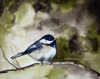 art for her bird painting bird art print bird PRINT from original watercolor painting watercolour bird home room decor chickadee 11x14 dp