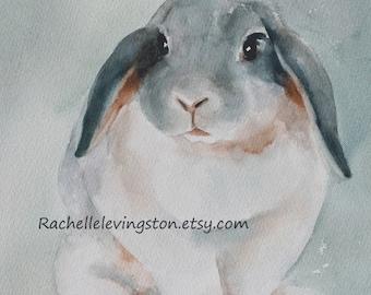 Easter painting Animal painting PRINT Watercolor Bunny artwork ( Rabbit print 8 x10) print blue robin egg blue aqua seafoam turqouise