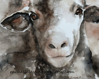 for her mom sheep poster sheep PRINT french country room decor shabby chic wall decor animal painting Sheep painting kid wall art 11x14