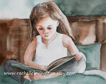 Girl Reading PRINT Girl reading painting girl wall art girl 8 x10 Young woman book aqua turquoise seafoam blue white brown toddler