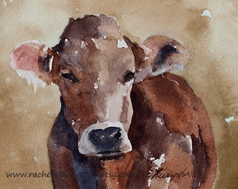 nursery art PRINT boy cow painting folk art painting folk art cow painting animal painting watercolor brown cow PRINT sepia wall decor 11x14