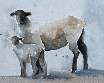 baby room decor Grey Sheep PRINT from original Watercolor Painting Animal painting Children nursery decor of sheep 8x10 grey white black